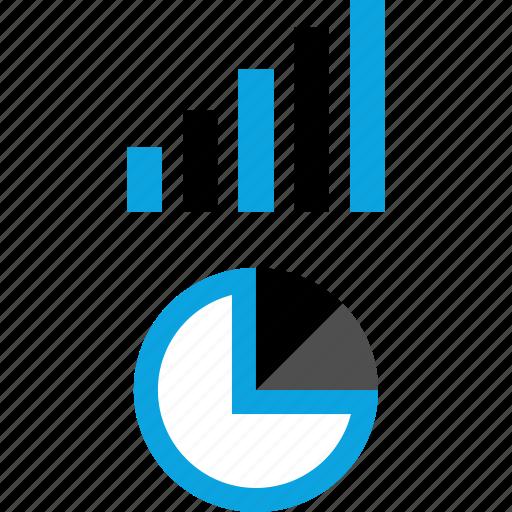analytics, information, pie, up icon
