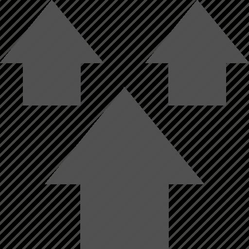 analytics, information, three, up icon