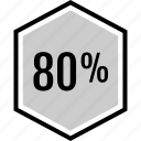 analytics, eighty, gfx, graphic, information, percent icon