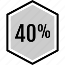 analytics, fourty, gfx, graphic, information, percent icon