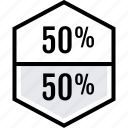 data, graphics, half, info, percent icon