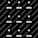 analytics, gfx, graphic, information, nine, users icon
