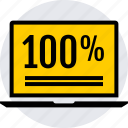 data, graphics, hundred, info, laptop, one, percent icon