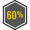 analytics, gfx, graphic, information, percent, sixty icon
