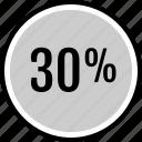 analytics, gfx, graphic, information, percent, thirty icon