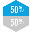 data, fifty, graphics, half, info, percent icon