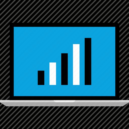 bars, data, graphics, info, laptop, pc icon