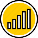 analytics, bars, gfx, graphic, information, up icon
