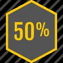 analytics, fifty, gfx, graphic, hexagon, information icon