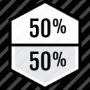 data, graphics, half, info, percent icon