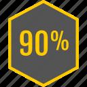 analytics, gfx, graphic, hexagon, information, ninety icon