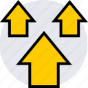 arrows, data, graphics, info, three, up icon