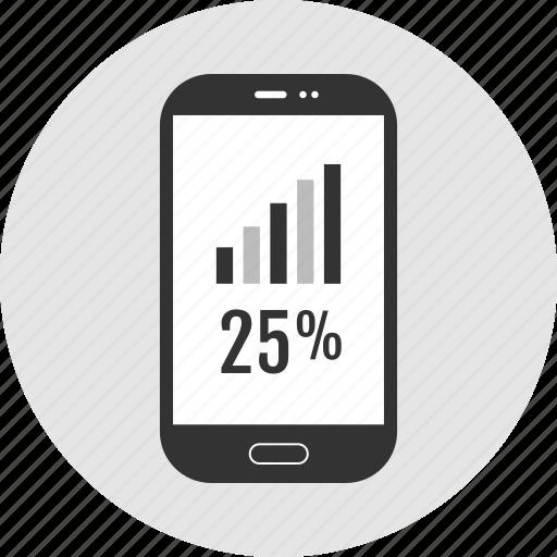 analytics, phone, quarter icon