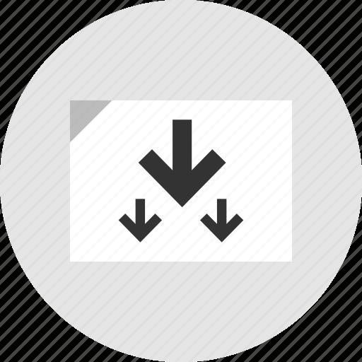 analytics, arrows, data, down icon