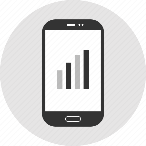 bars, infographic, phone, up icon