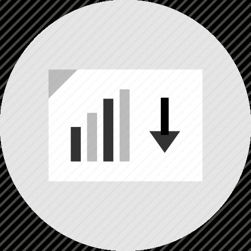 analytics, data, down icon