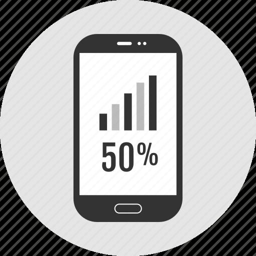 analytics, data, half icon