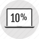 analytics, percent, ten icon