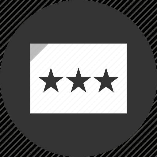 analytics, stars, three icon