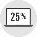 analytics, percent, twentyfive icon