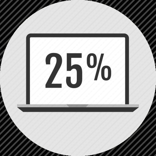 analytics, percent, twentyfive icon
