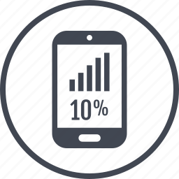 cell, percent, phone, rate, ten icon