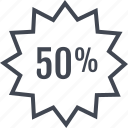 fifty, half, off, percent, price, tag icon