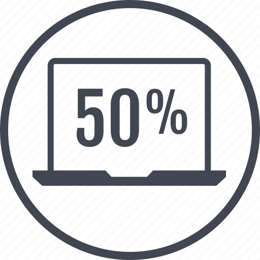 data, half, information, laptop, percent icon