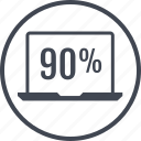 laptop, ninety, pecent, percentage, rate icon