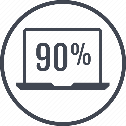 laptop, ninety, pecent, percentage, rate icon