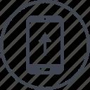 arrow, data, phone, pointer, upload icon