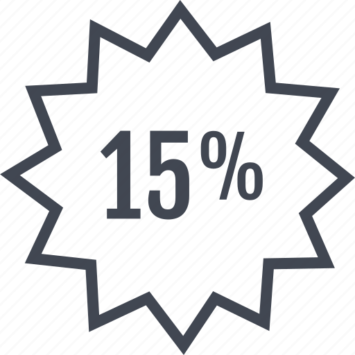 fifteen, percent, price, rate, tag icon