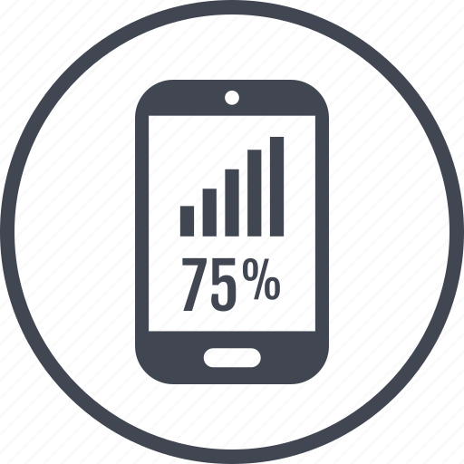 five, percent, phone, rate, seventy icon