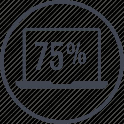 five, laptop, percent, rate, seventy icon