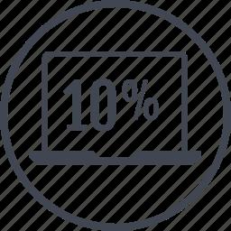 data, information, laptop, percent, ten icon
