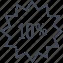 percent, percentage, rate, tag, ten icon