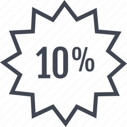percent, percentage, rate, tag, ten icon