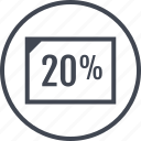doc, document, percent, rate, twenty icon