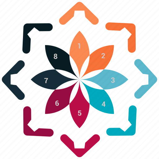 analytics, business, flower, infographic, pie chart, stats icon
