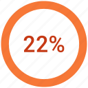 percent, twenty, two, users icon