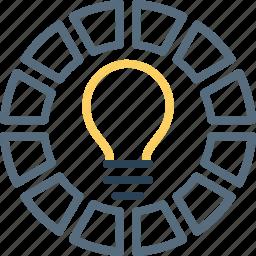 bulb, chart, idea, innovation, light, measure, risk icon