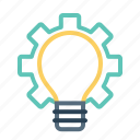 bulb, gear, idea, innovation, light, settings, startup icon