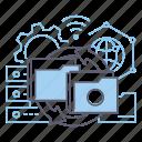 cooperation, data exchange, integration, storage icon
