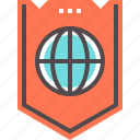 global, internet, protection, shield icon