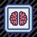 artificial intelligence, brain chip, brain processor, machine learning, microchip icon