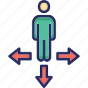 business direction, crossroad, decision making, path directions, signpost icon