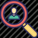 detective, find person, recruitment, search customer, search user icon