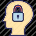closed mind, headlock, human idea, locked brain, narrow mindedness icon