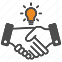 contract, deal, hand, idea, innovation icon