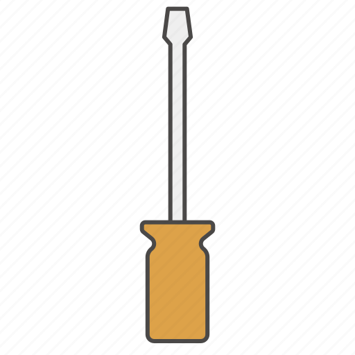 construction, fix, repair tool, screw, screwdriver, slotted screwdriver, tool icon